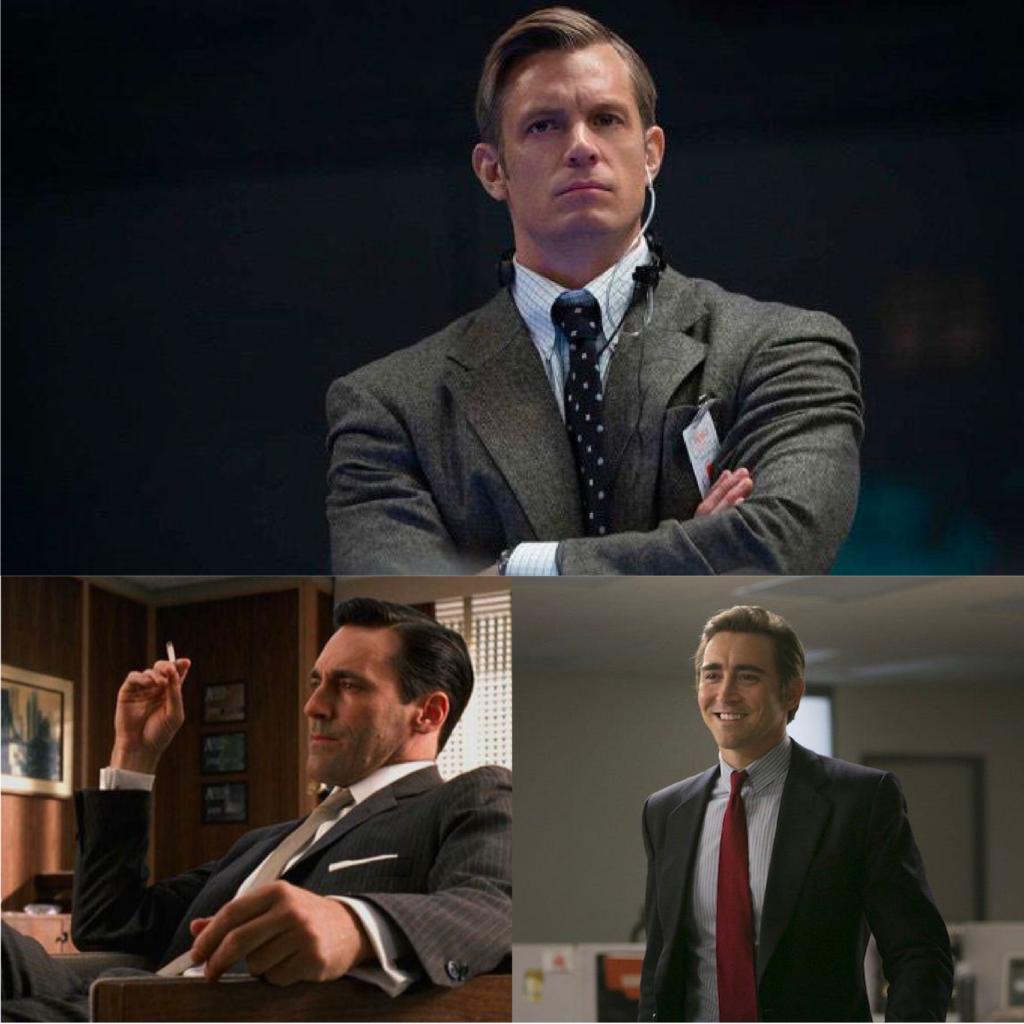 Protagonisti. In senso orario, Edward Baldwin (Joel Kinnaman, For All Mankind), Joe McMillan (Lee Pace, Halt and Catch Fire), Don Draper (Jon Hamm, Mad Men).
