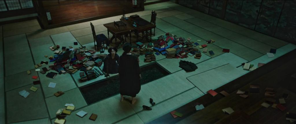 The Handmaiden- Fotogramma dalla scena della devastazione della biblioteca.